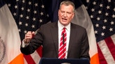 Feb. 10, 2014: New York Mayor Bill de Blasio delivers his State of the City address at LaGuardia Community College in the Queens borough of New York.