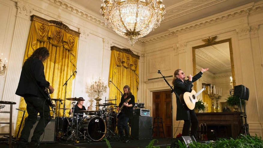 Mana performs in the East Room of the White House in Washington, Thursday, May 5, 2016.