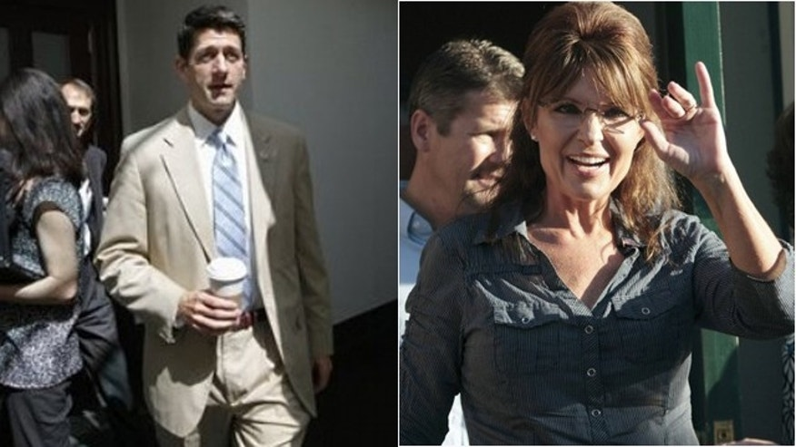 Rep. Paul Ryan, left, declined to support likely GOP nominee Donald Trump. Sarah Palin, right, said she'll work to unseat Ryan for that stance.
