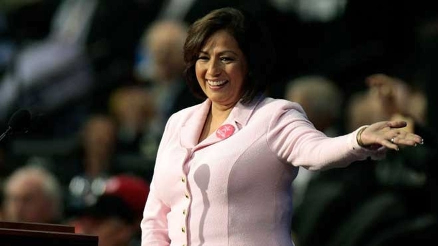 Former U.S. Treasurer Rosario Marin acknowledges the crowd on day four of the Republican National Convention (RNC) at the Xcel Energy Center on September 4, 2008 in St. Paul, Minnesota. Photo by Win McNamee/Getty Images)
