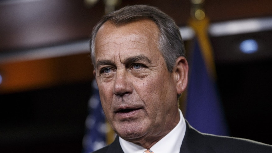 Feb. 26, 2015: Then-House Speaker John Boehner of Ohio speaks during a news conference on Capitol Hill in Washington.