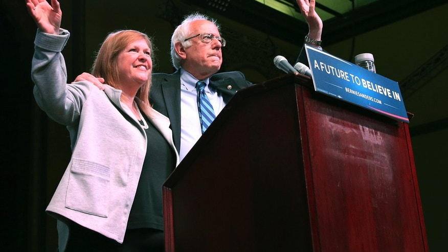 May 9, 2016: Jane O'Meara Sanders joins her husband, Democratic presidential candidate, Sen. Bernie Sanders, I-Vt., at a campaign rally in Atlantic City, N.J.