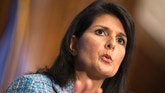 In this photo taken Sept. 2, 2015, South Carolina Gov. Nikki Haley speaks at the National Press Club in Washington. Haley will give the Republican response to President Barack Obama's Jan. 12 State of the Union address. (AP Photo/Evan Vucci)