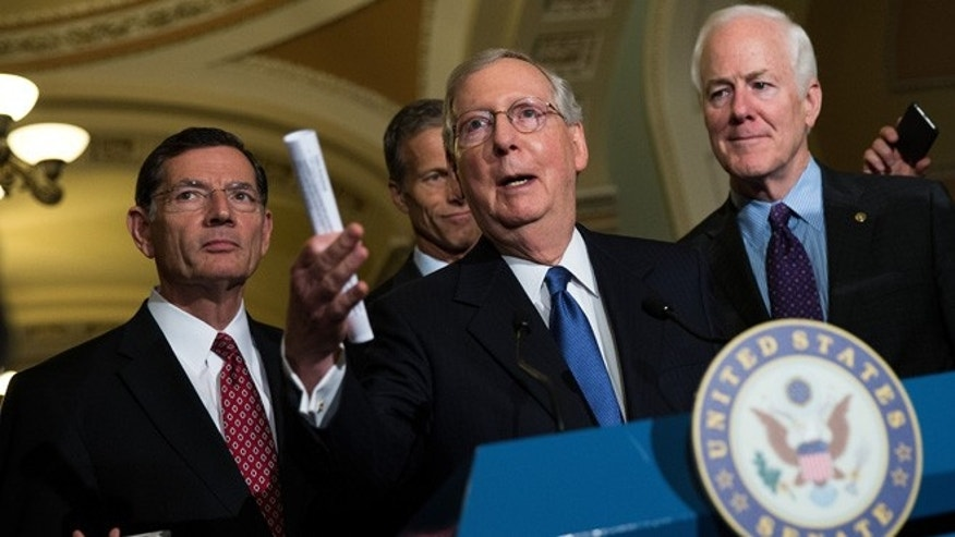 WASHINGTON, DC - MAY 10: (L-R), Sen. John Barrasso (R-WY), Sen. John Thune (R-SD), Senate Majority Leader Mitch McConnell (R-KY) and Sen. John Cornyn (R-TX) take questions from reporters during news conference after their weekly policy meeting with Senate Republicans, at the U.S. Capitol, May 10, 2016, in Washington, DC. Presidential candidate Donald Trump is scheduled meet with Republican House and Senate leadership on Thursday. (Photo by Drew Angerer/Getty Images)