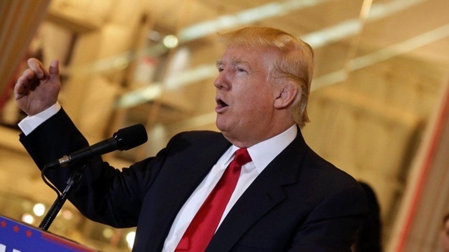 FILE - In this May 31, 2016 file photo, Republican presidential candidate Donald Trump speaks in New York. Trump is getting increasing attention for his abusive stance toward judges as well as his professed disregard for the rule of law, the Constitution and separation of powers.  (AP Photo/Richard Drew, File)