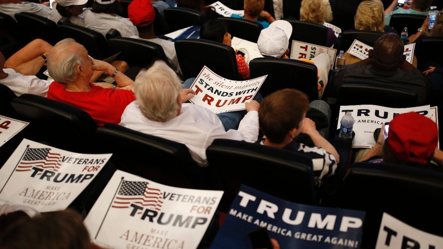 People hold signs as they wait for Republican presidential candidate Donald Trump to speak at the Treasure Island hotel and casino, Saturday, June 18, 2016, in Las Vegas.