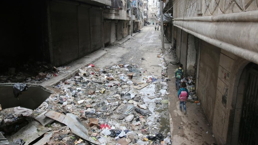 A street in Aleppo, Syria after fierce fighting in February.