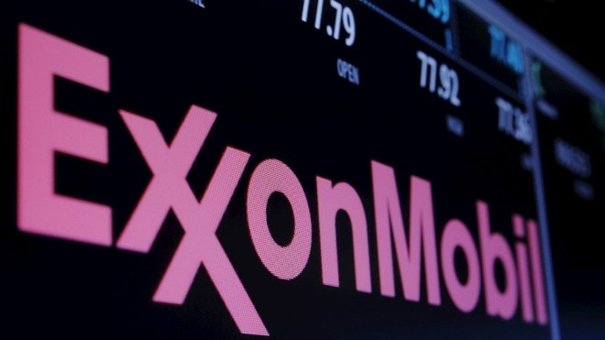 Dec. 21, 2015: The Exxon logo is displayed agove the floor of the New York Stock Exchange (NYSE) shortly after the opening bell in New York.