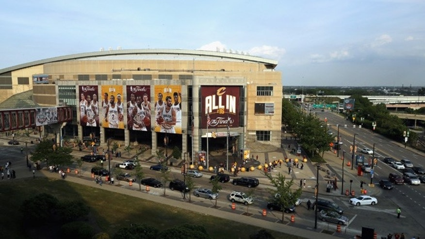 CLEVELAND, OH - JUNE 10:  A general exterior view of Quicken Loans Arena prior to Game 4 of the 2016 NBA Finals between the Cleveland Cavaliers and the Golden State Warriors on June 10, 2016 in Cleveland, Ohio. NOTE TO USER: User expressly acknowledges and agrees that, by downloading and or using this photograph, User is consenting to the terms and conditions of the Getty Images License Agreement.  (Photo by Ronald Martinez/Getty Images)