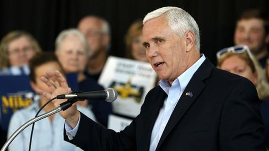 In this May 11, 2016, file photo, Indiana Gov. Mike Pence launches his campaign for re-election during an event in Indianapolis.