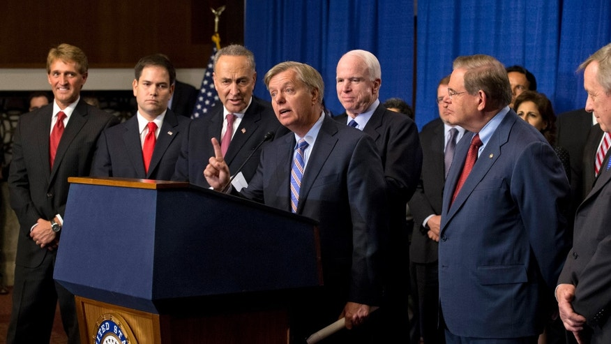 So-called Gang of Eight: Sen. Jeff Flake, Sen. Marco Rubio, Sen. Charles Schumer, Sen. Lindsey Graham, Sen. John McCain, Sen. Robert Menendez and Sen. Richard Durbin.