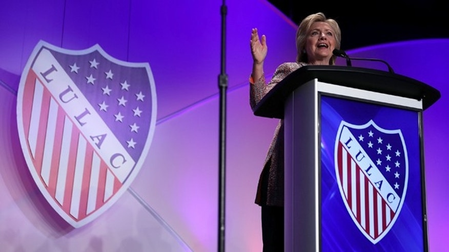 WASHINGTON, DC - JULY 14:  Democratic presidential candidate Hillary Clinton speaks during the 2016 National Convention and Exposition of The League of United Latin American Citizens (LULAC) July 14, 2016 in Washington, DC. Hillary Clinton continued to campaign for the general election in November.  (Photo by Alex Wong/Getty Images)