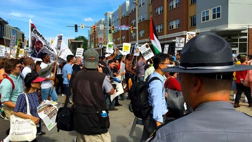 A group of about 200 activists took to the streets in Cleveland on Sunday, July 17, 2016.