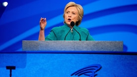 Democratic presidential candidate Hillary Clinton speaks at the American Federation of State, County and Municipal Employees 42nd International Convention at the Las Vegas Convention Center in Las Vegas, Tuesday, July 19, 2016. (AP Photo/Andrew Harnik)