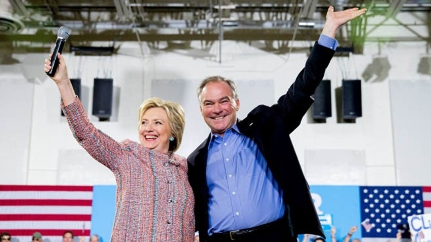 Hillary Clinton and Sen. Tim Kaine, D-Va. at Northern Virginia Community College in Annandale, Va. on July 14, 2016.