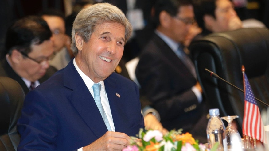 July 26, 2016: U.S. Secretary of State John Kerry smiles during 6th East Asia Summit Foreign Minister's meeting in Vientiane, Laos.