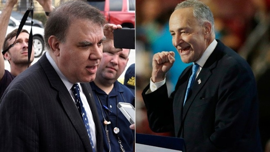 Senior Senate Democrat Charles Schumer (right) has called on Rep. Alan Grayson (left) to drop out of his Senate primary campaign in Florida.