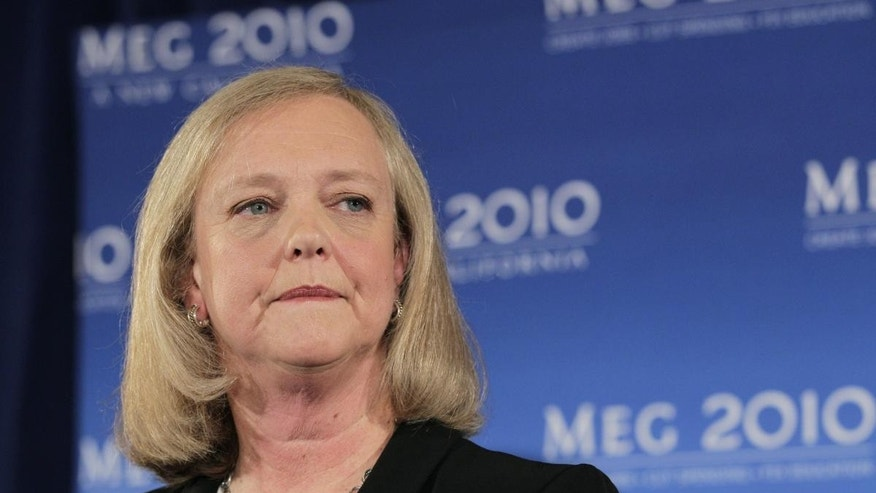 Sept. 30, 2010: This file photo shows California Republican gubernatorial candidate Meg Whitman taking questions from reporters during a news conference in Santa Monica