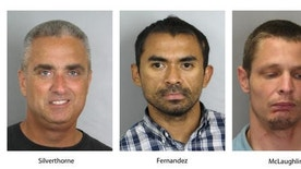 """These booking photos provided by the Fairfax County, Va., Police Department show, from left, City of Fairfax, Va. Mayor Richard """"Scott"""" Silverthorne, Juan Jose Fernandez, 34, and Caustin Lee McLaughlin, 21, both of Maryland. Silverthorne is facing drug charges after police say he was arrested in a meth-for-sex sting. Police say detectives located Silverthorne's two suppliers and they were also arrested and charged.  (Fairfax County, Va., Police Department via AP)"""