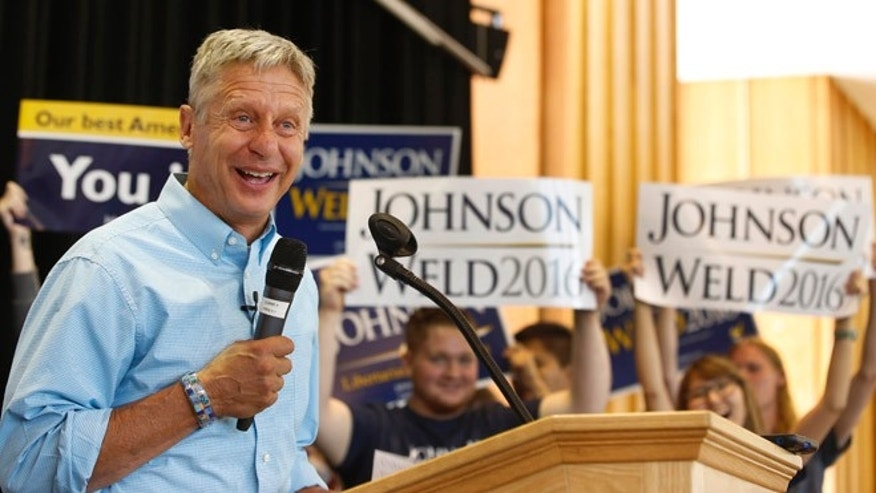 Libertarian presidential candidate Gary Johnson talks to a crowd of supporters at a rally on August 6, 2015 in Salt Lake City, Utah.  (Photo by George Frey/Getty Images)