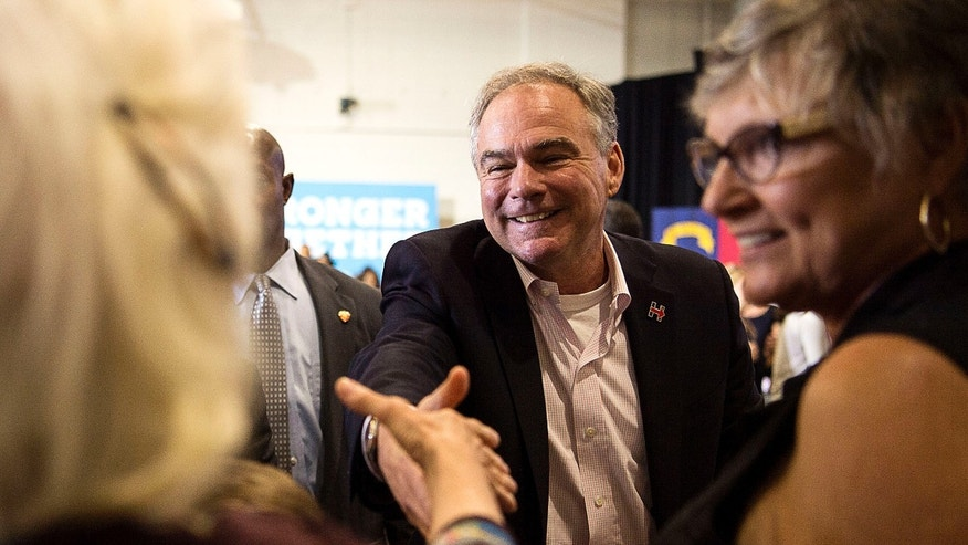Aug 15, 2016: Democratic vice presidential candidate Tim Kaine greets supports at the conclusion of his remarks at the Arthur Edington Education & Career Center in Asheville, N.C.