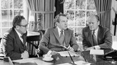 Vice presidential nominee Gerald R. Ford, right, listens as President Richard Nixon speaks in the Oval Office of the White House in Washington on Saturday, Oct. 13, 1973. Ford went to the White House to meet with the president after holding a news conference on Capitol Hill. At left is Secretary of State Henry Kissinger. (AP Photo/Harvey George)