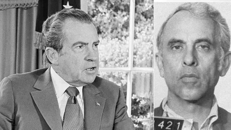At left, President Richard Nixon is shown in the Oval Office in Oct. 13, 1973; at right, Eugenio R. Martinez, a CIA mole involved in the Watergate break-in.