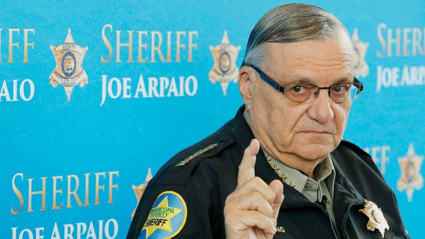 FILE - In this Dec. 18, 2013, file photo, Maricopa County Sheriff Joe Arpaio speaks at a news conference at the Sheriff's headquarters in Phoenix, Ariz.