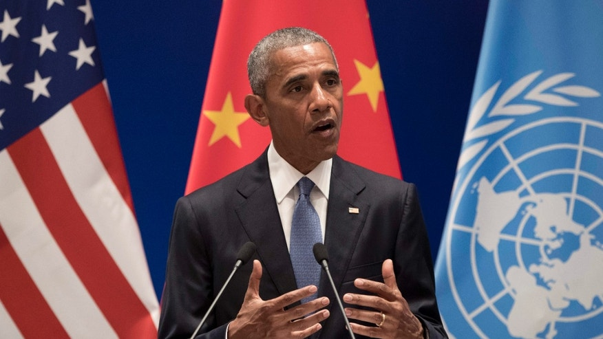 Sept. 3, 2016: U.S. President Barack Obama speaks during a climate event at the Ruyi Hall at West Lake State Guest House in Hangzhou in eastern China's Zhejiang province.