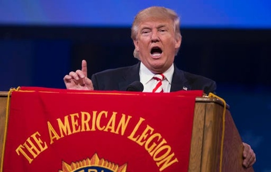 Republican presidential candidate Donald Trump gestures as he speaks to the American Legion National Convention, Thursday, Sept. 1, 2016, in Cincinnati. (AP Photo/Evan Vucci)