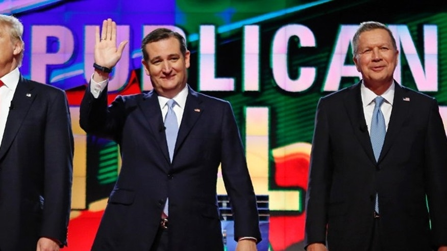 Republican presidential candidates Donald Trump, left, Sen. Ted Cruz and Gov. John Kasich at a debate in March 2016.