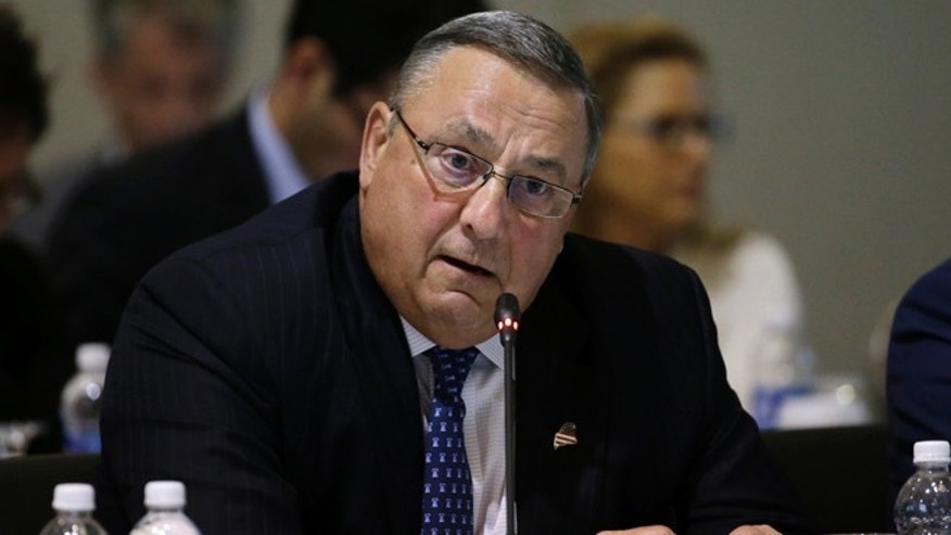 FILE - In this Aug. 29, 2016 file photo, Maine Gov. Paul LePage speaks during a conference of New England's governors and eastern Canada's premiers to discuss closer regional collaboration, in Boston. Maineââ¬â¢s Democratic Secretary of State Matt Dunlap says LePageââ¬â¢s recent behavior has caused outrage but that doesnââ¬â¢t mean he canââ¬â¢t keep performing as governor. Critics want to punish LePage for an obscenity-laden voicemail and threats directed at a legislator.  (AP Photo/Elise Amendola, File)