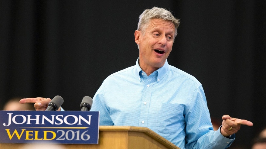 FILE - In this Sept. 3, 2016 file photo, Libertarian presidential candidate Gary Johnson speaks during a campaign rally in Des Moines, Iowa.
