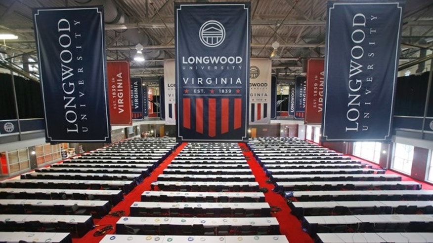 Tables are in place for the media for the Oct. 4 vice presidential debate at Longwood University in Farmville, Va.
