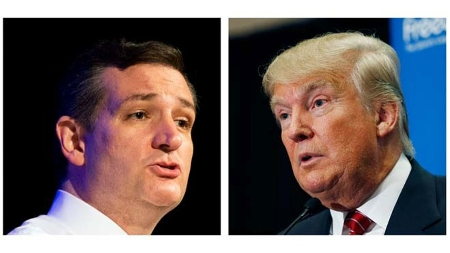 "FILE - This two picture combo of file photos shows Republican presidential candidate, Sen. Ted Cruz, R-Texas, left, and Donald Trump. Two of the most outspoken Republican presidential candidates on illegal immigration, Cruz and Trump, are set to talk. Cruz, who requested the Wednesday meeting, told reporters at the Capitol that Trump ""is bringing a bold, brash voice to this presidential race.""   (AP Photo/File)"