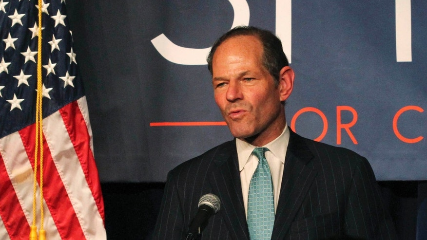 FILE - In this Sept. 10, 2013, file photo, former New York Gov. Eliot Spitzer delivers his concession speech at his election night party after losing the Democratic primary race for New York City comptroller in New York.
