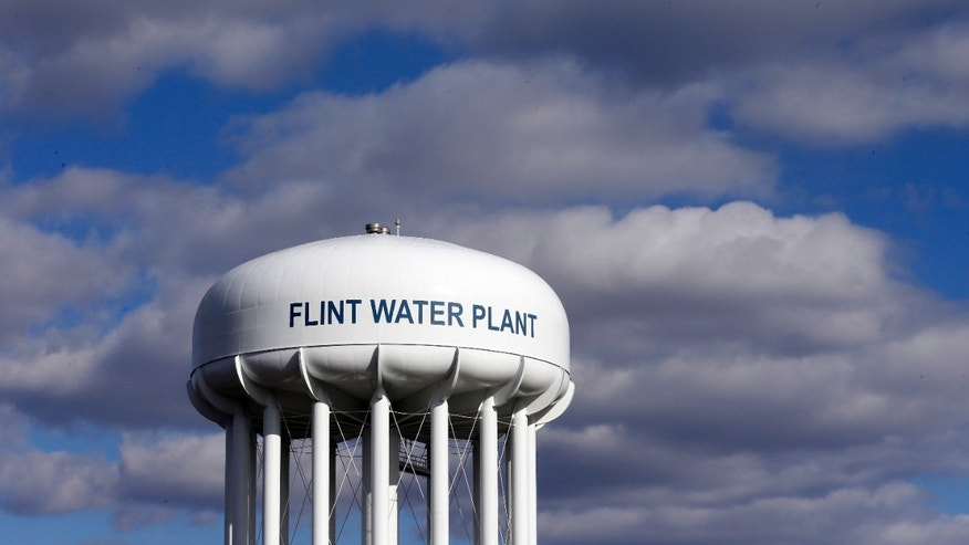 March 21, 2016: The Flint Water Plant water tower is seen in Flint, Mich.