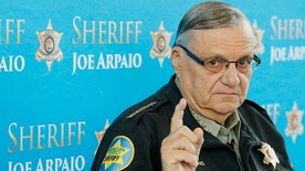 FILE - In this Dec. 18, 2013, file photo, Maricopa County Sheriff Joe Arpaio speaks at a news conference at the Sheriff's headquarters in Phoenix, Ariz. The sheriff of metropolitan Phoenix has raised close to $10 million in his bid for a seventh term, a stunning collection of campaign riches for a local police race. Much of the money contributed to Arpaio was donated by a devoted base of backers who live outside Arizona. (AP Photo/Ross D. Franklin, File)
