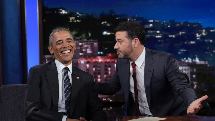Oct. 24, 2016: President Barack Obama talks with Jimmy Kimmel in between taping segments of Jimmy Kimmel Live! at the El Capitan Entertainment Center in Los Angeles.