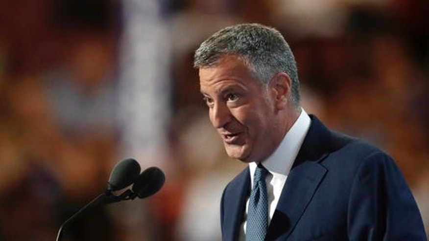 July 27, 2016: New York City Mayor Bill de Blasio speaks during the third day of the Democratic National Convention in Philadelphia.