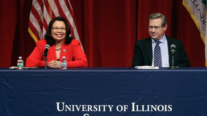 Oct. 27, 2016: Republican U.S. Sen. Mark Kirk, right, and Democratic U.S. Rep. Tammy Duckworth, left, face off in their first televised debate in what's considered a crucial race that could determine which party controls the Senate at the University of Illinois in Springfield, Ill.