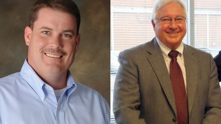 These undated images show North Carolina State House candidates Brenden Jones, left, and Timothy Benton.
