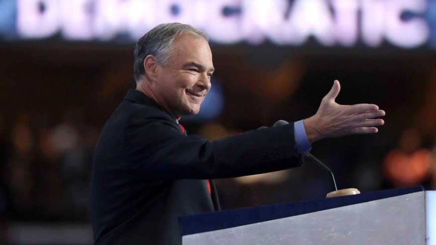 Democratic vice presidential candidate, Sen. Tim Kaine, D-Va., on July 27, 2016.