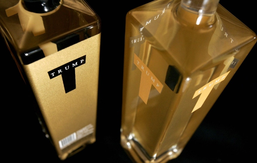 Bottles from a new line of premium vodka affiliated with Donald Trump and bearing the name Trump Super Premium Vodka are seen in this photograph taken in New York City October 6, 2006.     REUTERS/Lucas Jackson (UNITED STATES) - RTR1I2L8