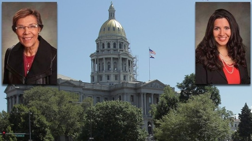 The Colorado State Capitol Building in Denver with Lucia Guzman (left) and Crisanta Duran. (Photos: Legislators, http://www.leg.state.co.us; Capitol, Doug Pensinger/Getty Images)