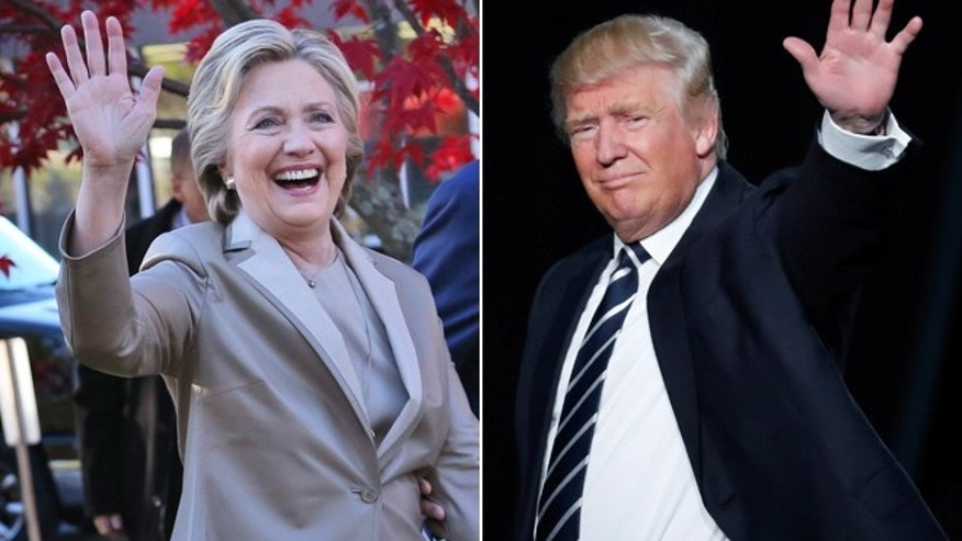 This split shows Hillary Clinton, left, and Donald Trump, right.