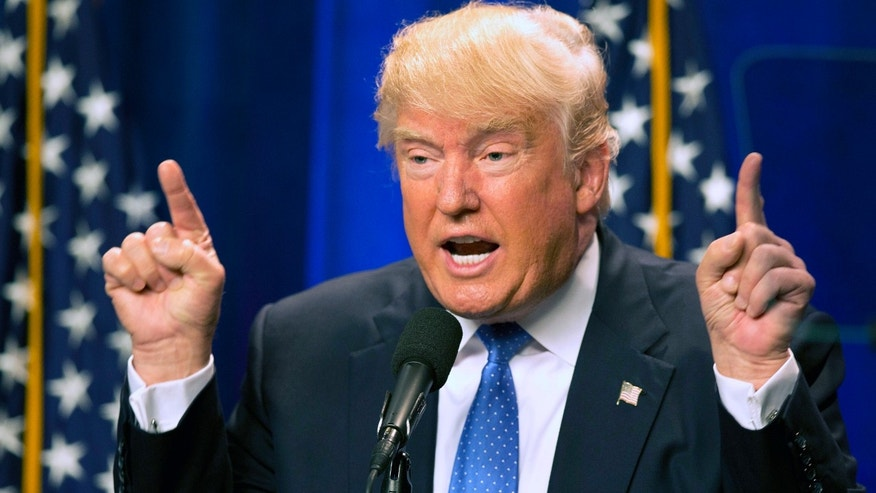Republican presidential candidate Donald Trump speaks at Saint Anselm College Monday, June 13, 2016, in Manchester, N.H. Trump attacked Hilary Clinton by name in his speech in the aftermath of the Orlando shooting.