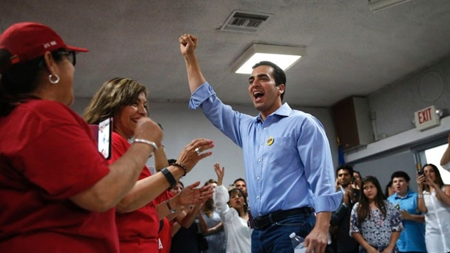 FILE - In this June 14, 2016 file photo, Nevada Democratic Congressional candidate Ruben Kihuen celebrates at an election night party in Las Vegas.  (AP Photo/John Locher)