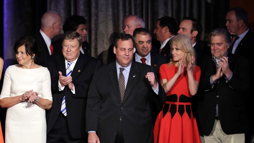 Nov. 9, 2016: New Jersey Gov. Chris Christie pumps his fist as President-elect Donald Trump gives his acceptance speech during his election night rally in New York.