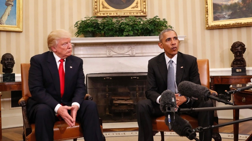 In this photo taken Nov. 10, 2016, President Barack Obama meets with President-elect Donald Trump in the Oval Office of the White House in Washington. White House officials say President Barack Obama is prepared to spend his final major foreign trip talking about Donald Trump. Obama leaves Monday, Nov. 14, 2016, for a six-day trip to Greece, Germany and Peru. In Greece, heââ¬â¢ll tour the Parthenon, give a speech about globalization and meet with Prime Minister Alexis Tsipras. (AP Photo/Pablo Martinez Monsivais)